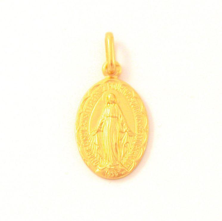 Médaille Plaqué-or de la Vierge Miraculeuse, diamètre 19mm