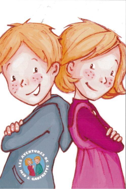 Carte postale Jojo et Gaufrette dos à dos