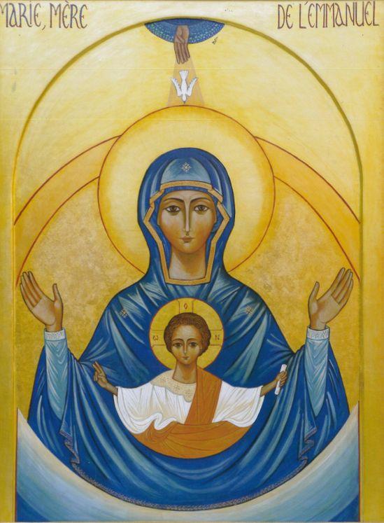 Icône Marie, Mère de l´Emmanuel 17,5 x 24,5 cm