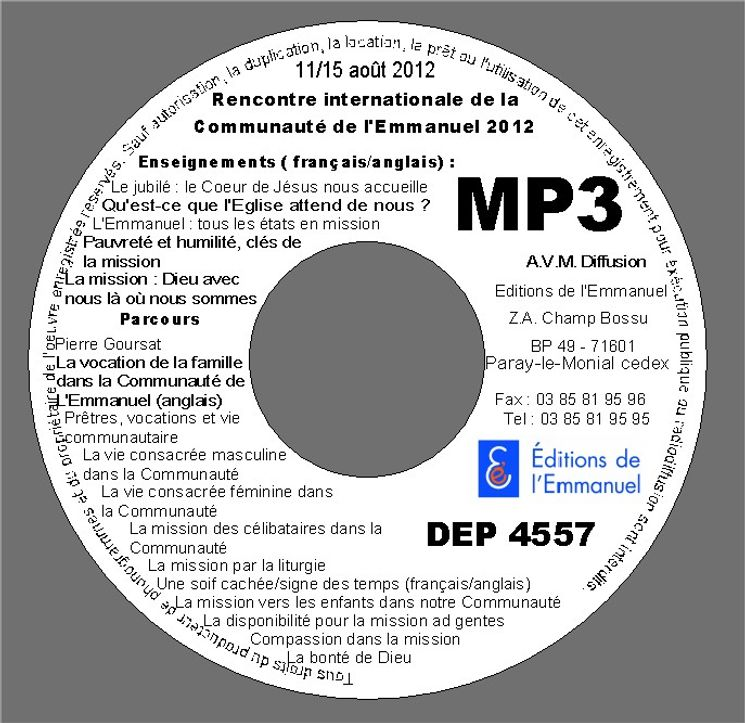 MP3 Session retraite internationale du 11 août au 15 août 2012