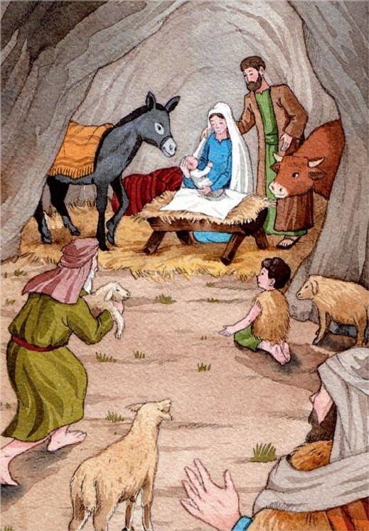10 cartes doubles nuit de Noël - L´adoration des bergers