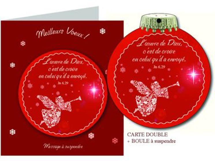 Carte de voeux boule de Noël, l´Oeuvre de Dieu