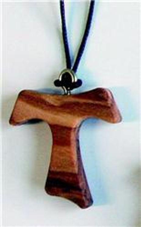 Croix Tau sur cordon en bois d´olivier