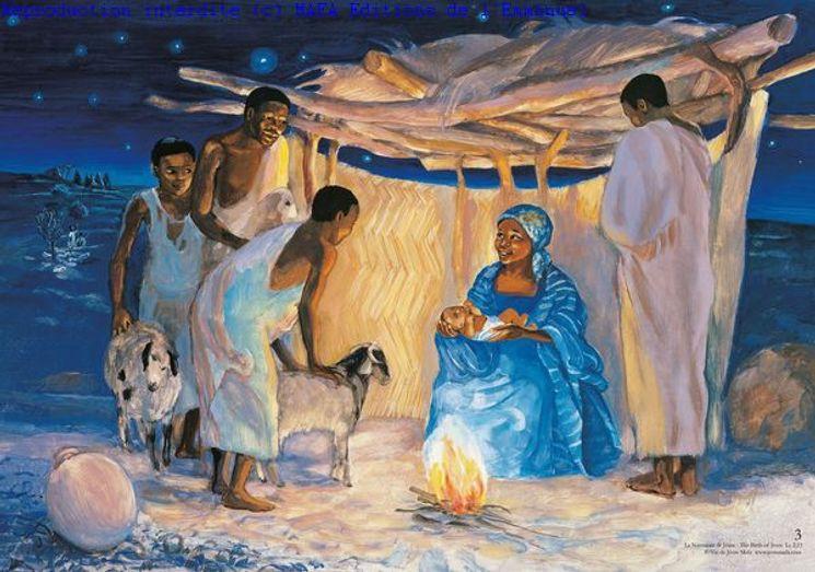 La Naissance de Jésus  (Lc 2,11), Carte simple Vie de Jésus Mafa