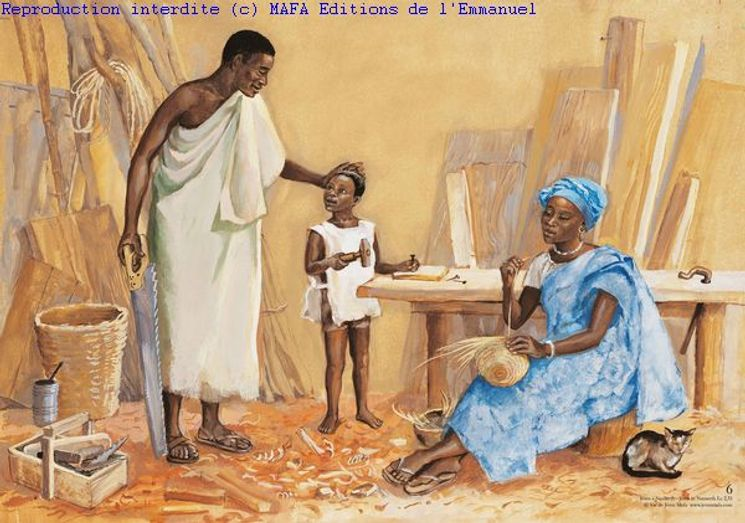 Jésus à Nazareth  (Lc 2,51), Carte simple Vie de Jésus Mafa
