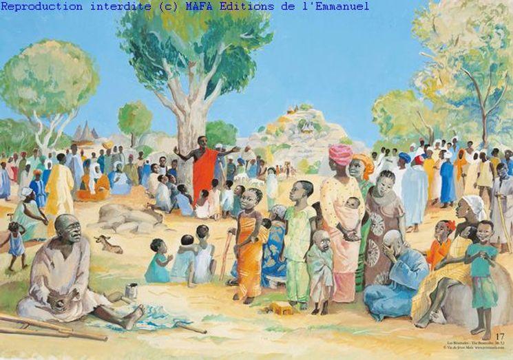 Les Béatitudes  (Mt 5,1), Carte simple Vie de Jésus Mafa