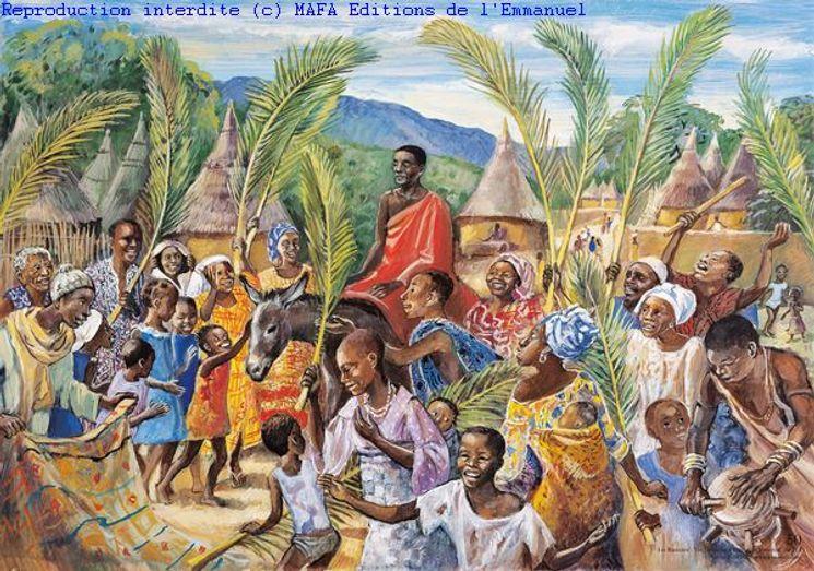 Les Rameaux, Carte simple Vie de Jésus Mafa