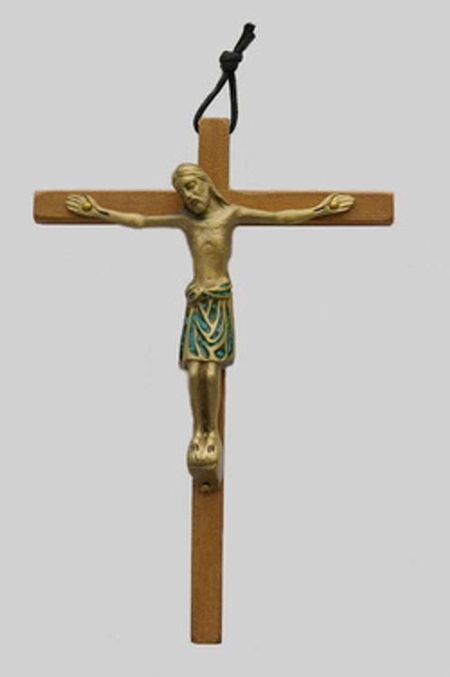 Crucifix en bois et bronze émaillé