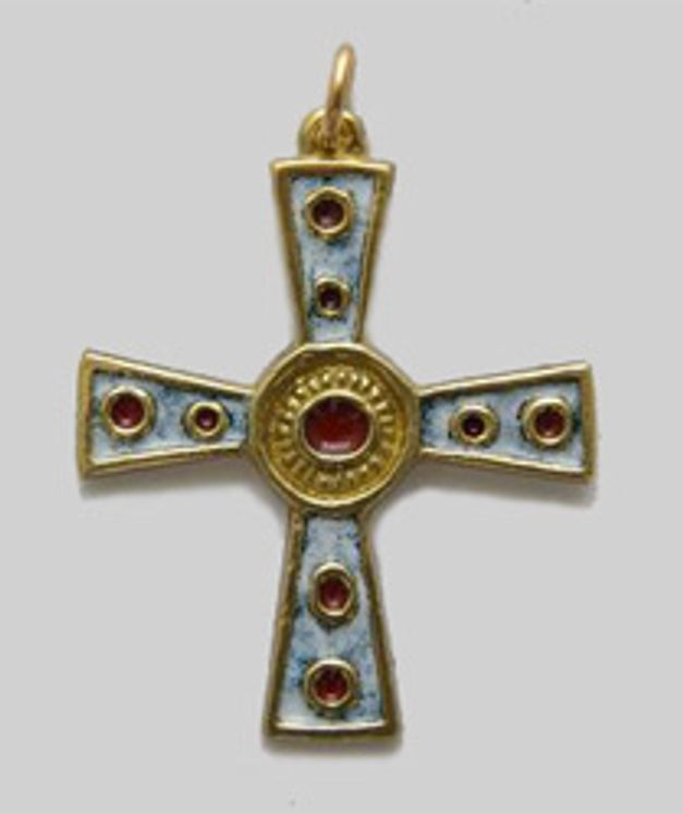 Croix pendentif en bronze émaillé