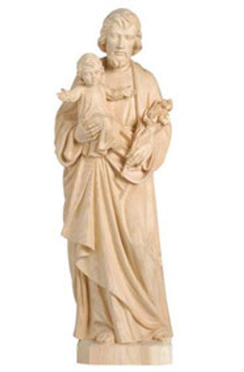 Statue Saint  Joseph et Enfant-Jésus bois sculpté - 15 cm