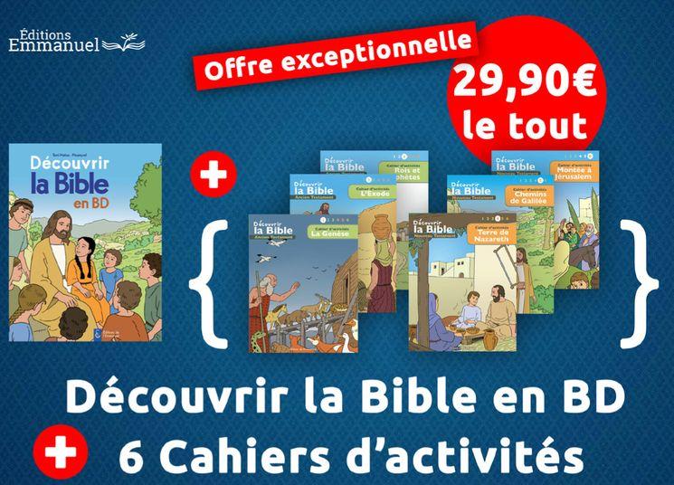 Pack 6 cahiers d´activité + livre Découvrir la Bible en BD