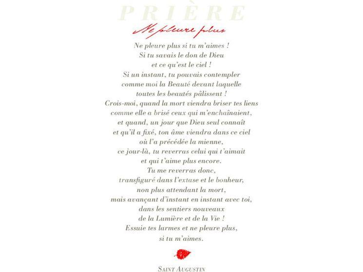 Image cartonnée Prière st Augustin Ne pleure pas
