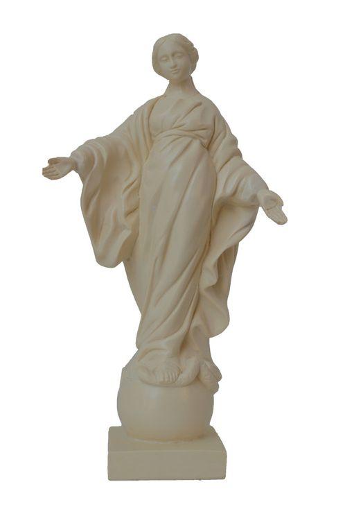 Statue Vierge au Sourire, en résine ivoirée