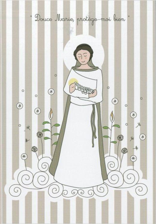 Icône Tante Menoue à accrocher ou à poser Marie avec Agneau/rayures