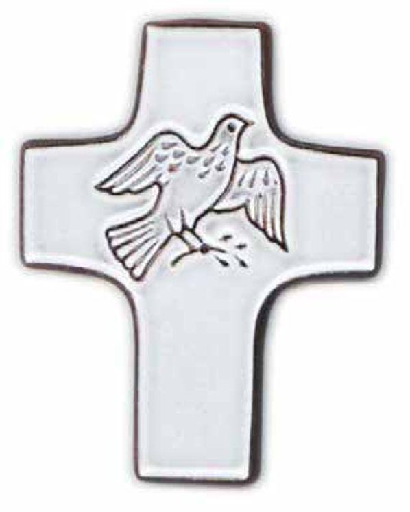 Croix céramique blanche colombe 7,5x9cm