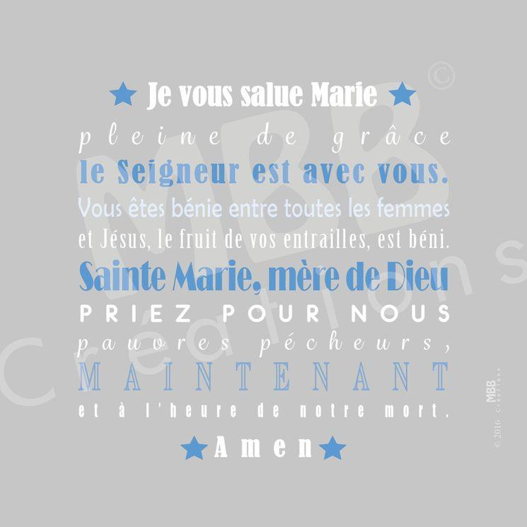 """Toile prière Gris/Bleu """"Je vous salue Marie"""" - Format 20 x 20"""