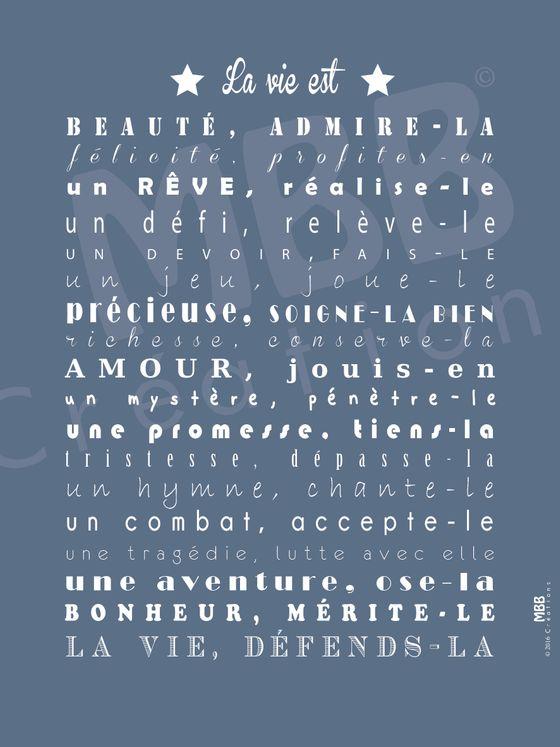"""Toile prière Bleu/Blanc """"La vie est de Mère Teresa"""" - Format 40 x 30"""