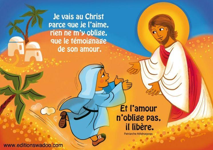 """Carte Moinette  """"Je vais au Christ parce que je l´aime"""""""