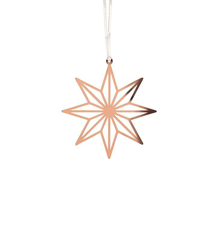 """Décoration Noël métal à suspendre  """"Etoile"""" coloris bronze - 7 x 8 cm"""