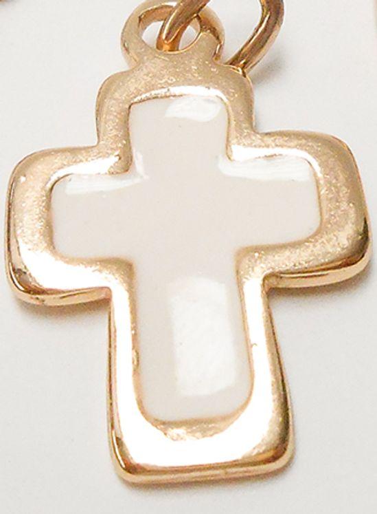 Croix pendentif métal doré, émaillée blanc  -  28 x 17 mm