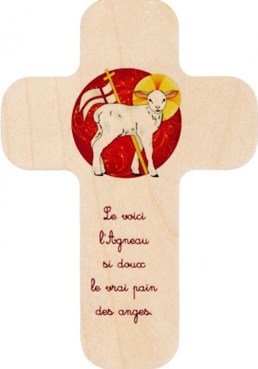 Croix en bois imprimée Agneau - Le voici l´Agneau si doux le vrai pain des anges
