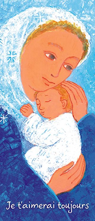 Lot de 25 - Signet Maïte Roche Vierge à l´enfant (bleue)