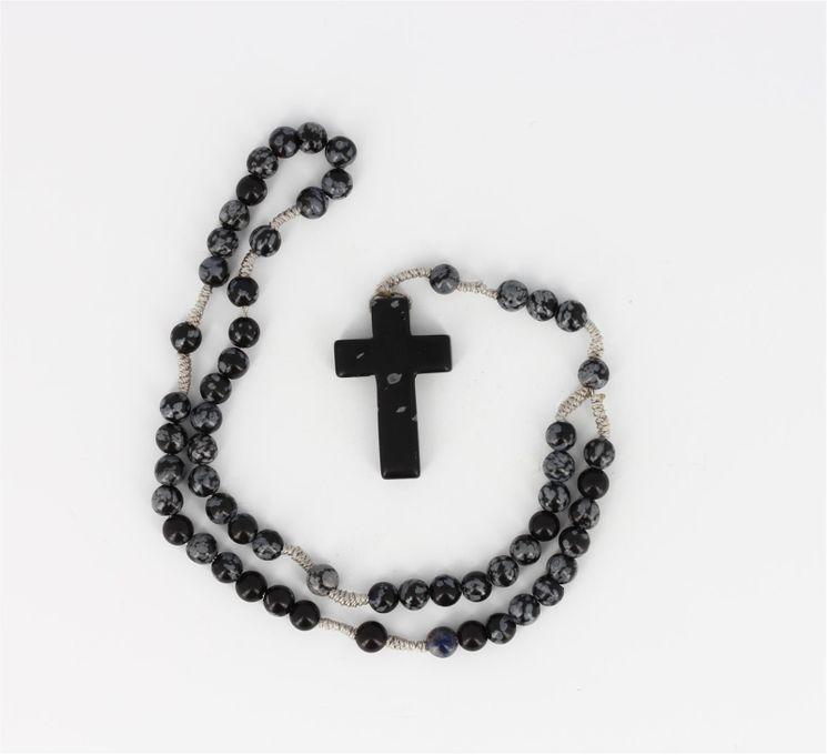 Chapelet Perles flocons de neige pierre obsidienne 28,5 cm