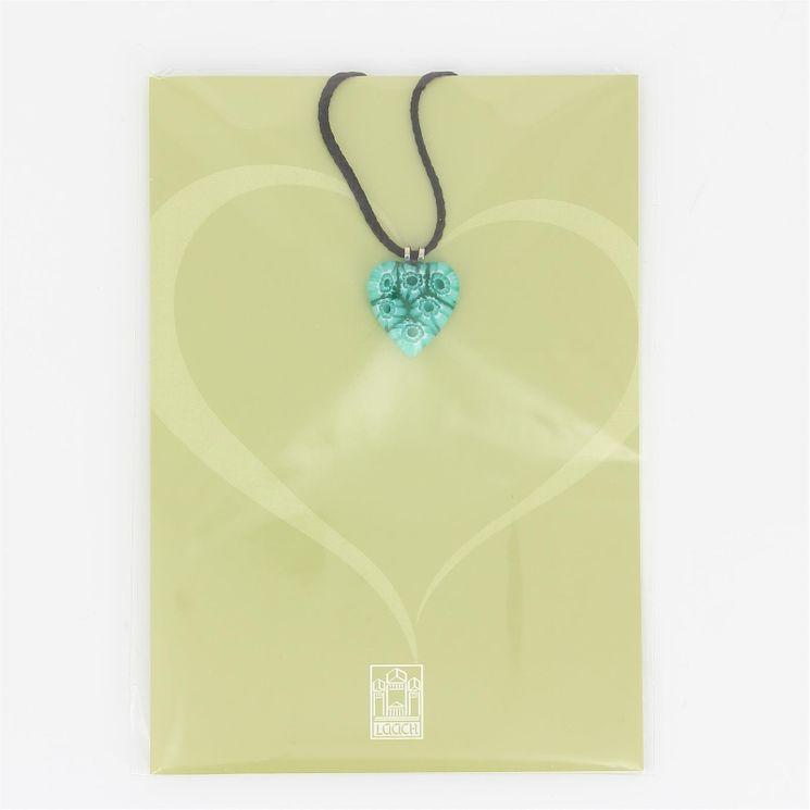 Pendentif Coeur vert en Verre de Murano