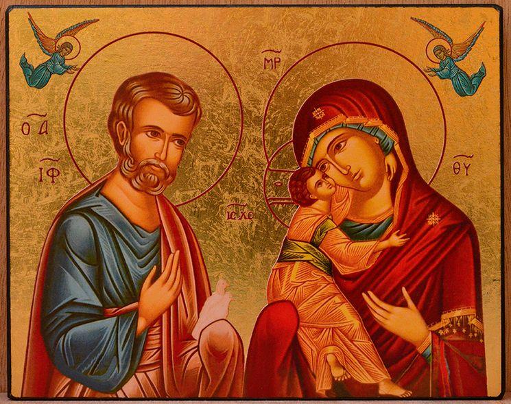 Icône qualité Or La Sainte Famille et Anges 10 cm x 12 cm