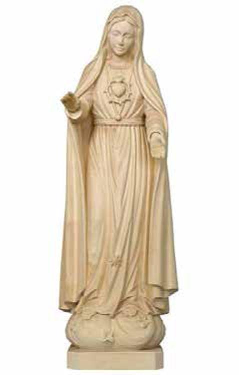 Statue Sacré-Coeur de Marie en bois sculpté - 12 cm