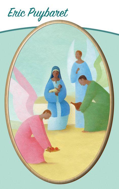 Cadre ovale en bois - Adoration des Anges