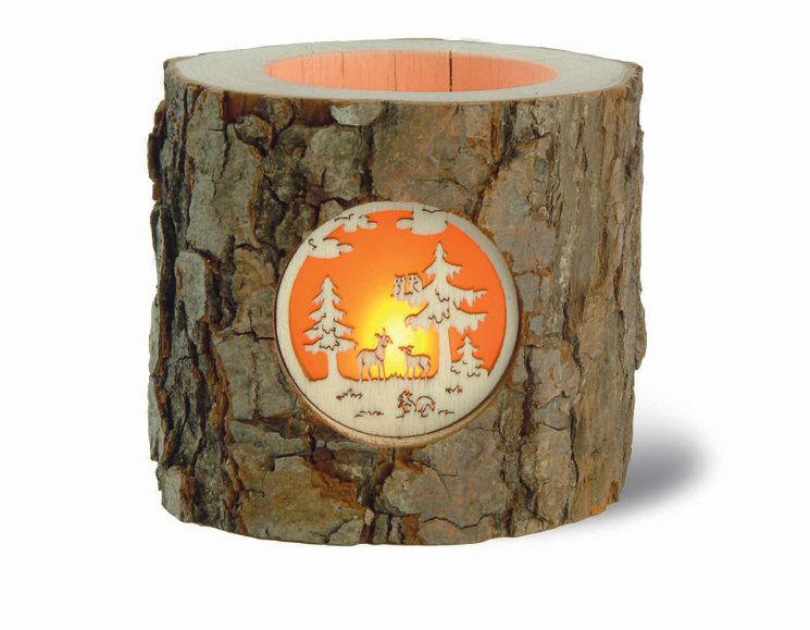 Photophore en bois sculpté décor Forêt