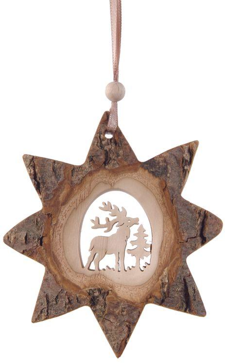Décoration Noël Etoile et cerf avec ficelle à suspendre