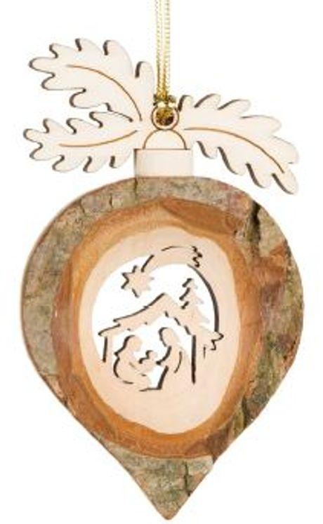 Décoration Noël Noisette avec Sainte Famille à suspendre - 9 cm
