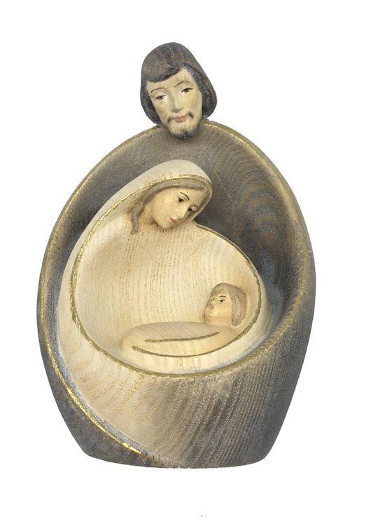 Statue Sainte Famille en bois gris clair - Moderne 9 cm