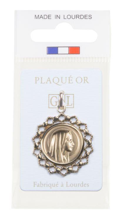 Médaille ronde entourage dentelle, vierge de profil - Apparition grotte de Lourdes au verso