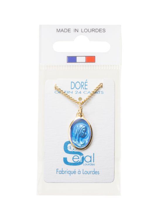 Ensemble constitué d'une médaille et d'une chaine - Médaille ovale tête de la Vierge de Profil