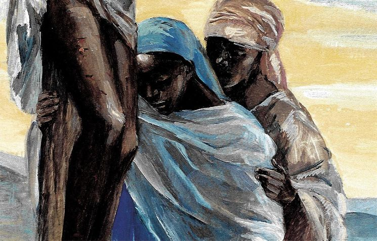 Marie au pied de la Croix, Carte simple Vie de Jésus Mafa