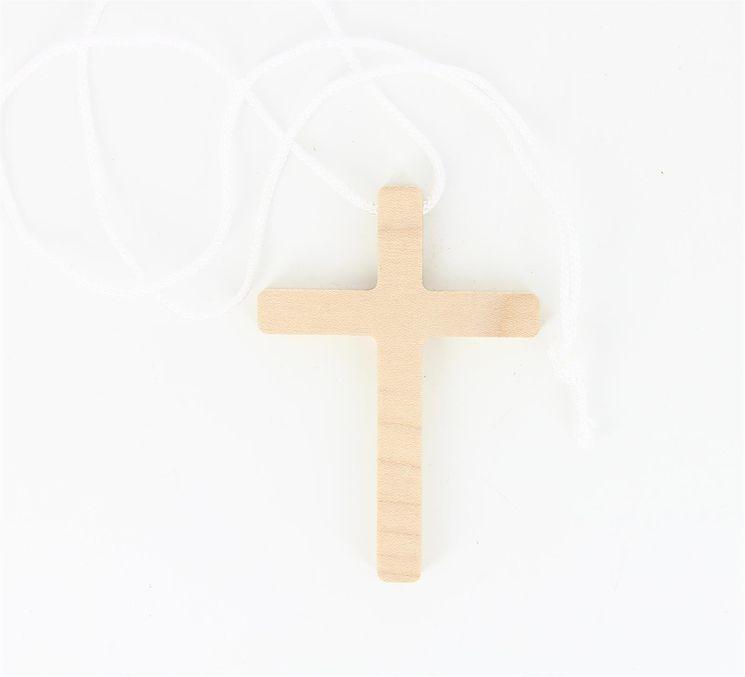 Croix d´aube en hêtre vernis 10 x 7 cm