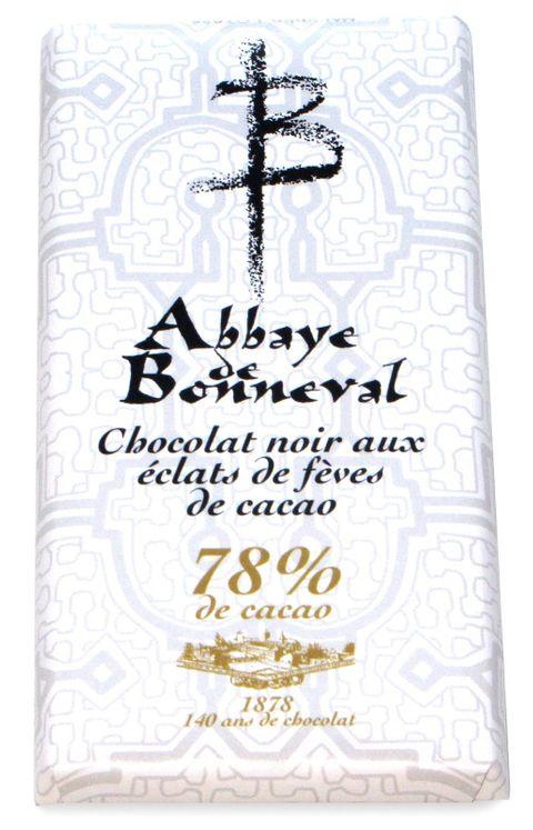 Chocolat noir aux éclats de fèves de cacao 78 % de cacao, tablette de 100 g