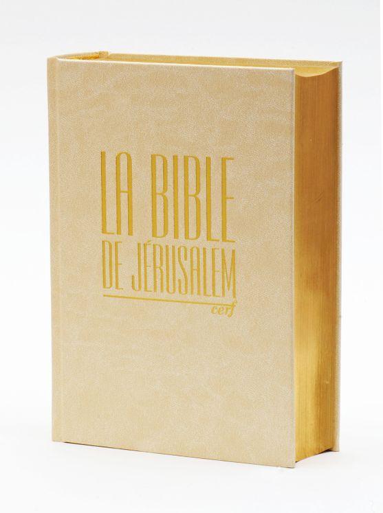 Bible de Jérusalem compacte reliée blanche dorée