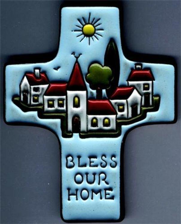 Croix en céramique  Bless our home